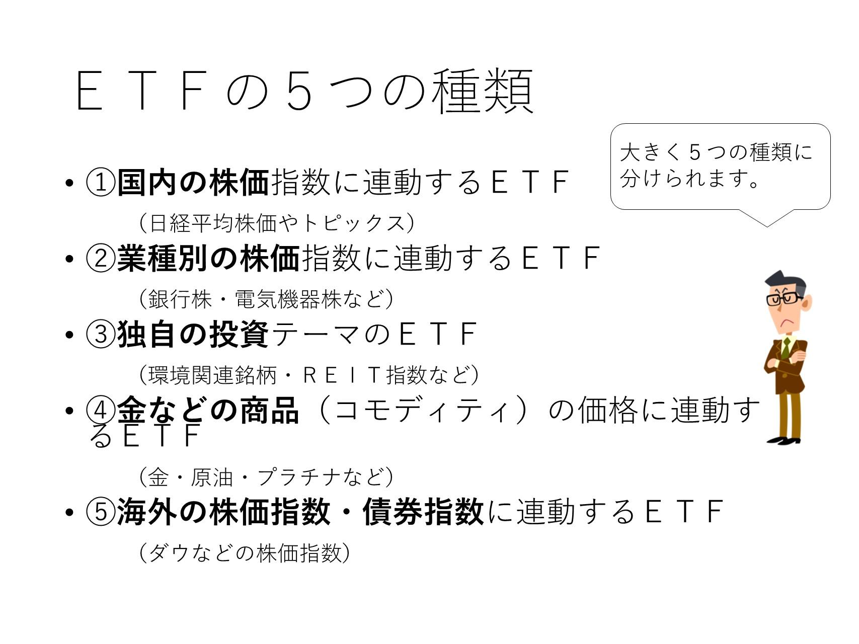 ETFの5つの種類