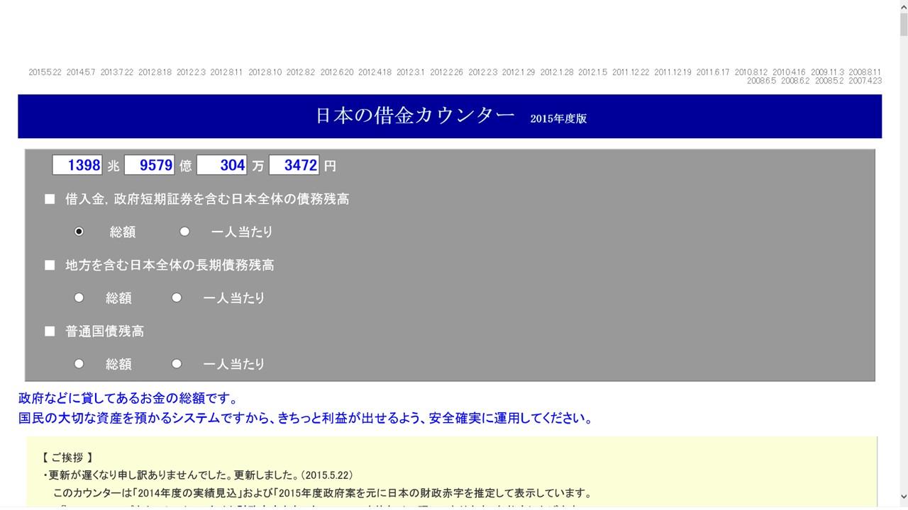 日本の借金カウンター